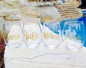 Personalized Stemless Wine Glass, Monogrammed Stemless Wine Glass, Wine Glass, set of 8 wine glasses
