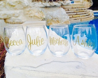 Wine Glass, Stemless Wine Glass, Personalized Stemless Wine Glass, Monogrammed Stemless Wine Glass, Bridal Party Gift, set of 8 wine glasses
