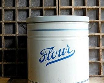 Vintage Metal Flour Canister Tin, White and Blue, Farmhouse Kitchen
