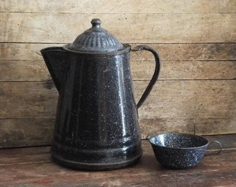 Primitive Antique Coffee Pot and Coffee Cup Dark Blue Enamelware, Speckled