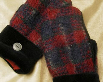 Purple,Burgundy and Black with hints of Ivory and Green UpCycled, ReCycled, Vintage Wool and Velvet Sweaters & Polar Fleece Lined Mittens