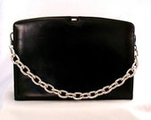 Vintage Purse Black Leather 1960s 1970s with New Silver Link Chain Handle
