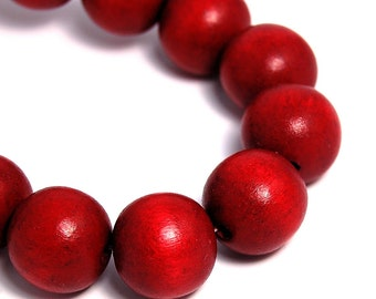 16mm Cranberry Red Wood Beads -16 inch strand