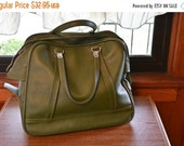 ON SALE Green American Tourister Carry - On Bag, Amelia Earheart style bag, vintage green luggage