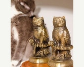 ON SALE Owl Bookends, Set of two Brass tone Metal Bookends