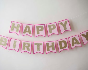 Glitter and Pink Happy Birthday Banner Bunting