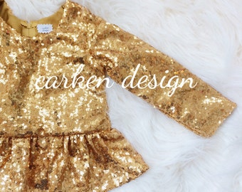 sequin top long sleeve shirt peplum sparkle shirt gold silver bronze baby toddler girl champagne red party birthday wedding flo