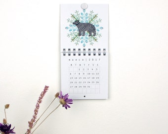 2017 Mini Wall Calendar - Animals