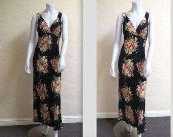 Vintage 90s Does 1930s Betsey Johnson Long Bias Cut Maxi Dress sz 4