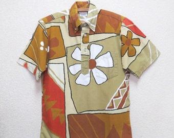 Vintage 60s Surfline Hawaii Tribal Floral Print Men's Hawaiian Shirt S