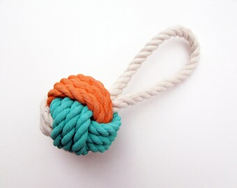 Peach & Aqua Painted Monkey's Fist Knot - Ornament