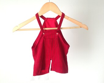 OVERALLS striped kids RED JUMPER overalls size 3T children corduroy jumper overalls