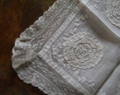 Antique Wedding White Handkerchief With Netted Alencon Lace Vintage Wedding Lace Medallion On 4 Corners