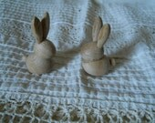 Pair Of Wood Bunnies from Discontinued Stock (Austria) AdorableLittle Bunnies Easter Decoration Shabby Chic Cottage Decor Baby Bunnies