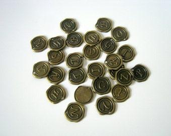 One Antique Bronze Wax Seal Alphabet Initial Charm