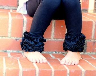 Black Ruffle Leggings - Black Cat - knit ruffle leggings - comfy knit ruffle pants size Newborn to 10 with FREE SHIPPING
