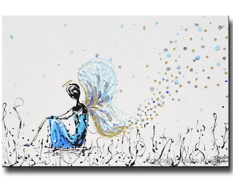 GICLEE PRINT Art Abstract Angel Painting for CHARITY Modern Home Decor Wall Art Acrylic Painting White Blue Spiritual Art Christine Krainock