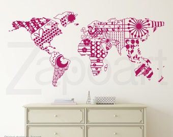 Patterned World Map Wall Decal
