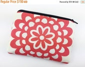 Summer SALE Lotus Flower Zipper Coin Purse, Small Pouch, Gadget Case, Card Wallet, Gift idea, Padded, Red Orange