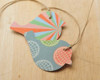 Bird Gift Tags, Set of 12, Double Sided, Colorful Gift Tags, Party Favors, Gift Wrap, Packaging, Hang Tags, Party Decoration, Embellishment