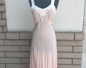 "50s Peach ""Angel"" Rayon Nightgown . by Dwalyne . Deadstock . New w/tag Size 34 XS-S"