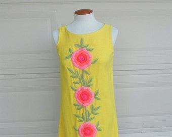 ON SALE Vintage 60s Summer Mini Dress . Yellow Embroidered Sheath Dress . by Phil Rose