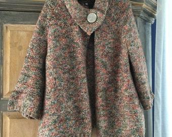 Carole Little Tweedy Knit Swing Sweater With a Big Button Collar Sz L