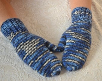 Wool mittens,hand knitted wool mittens, colorful wool mittens