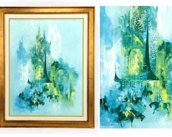 "mid century art, framed print, Frans Van Lamsweered, The Tournament, 1969, horses, equine art, robins egg blue, green, print, 25""x20"""