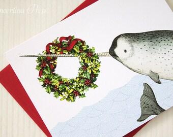 Narwhal Christmas Card, funny nautical holiday card