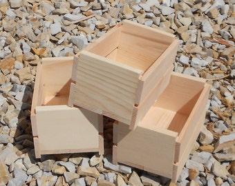 Set of 3, 1/4 Peck  Wood  Fruit Crates