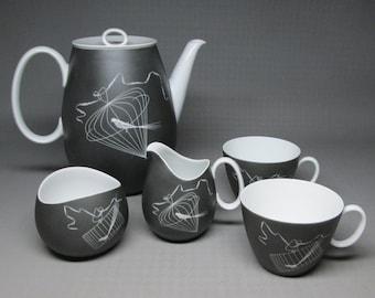 Papageno set , birds in cages , matte black , Johann Haviland Bavaria , coffee pot creamer sugar two cups