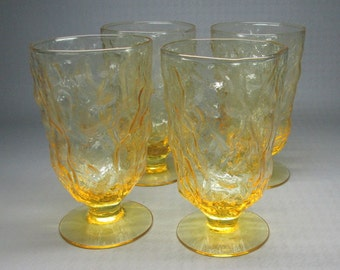 set of four footed glasses Morgantown Seneca / crinkle in a bright yellow