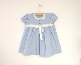 Vintage Baby Clothes, 1940's Sky Blue and White Lace Baby Girl Dress, Vintage Baby Dress, Blue Baby Dress, Size 9-12 Months