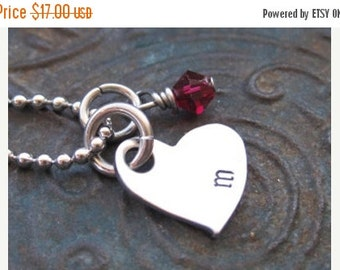 SALE Valentines Day - Hand Stamped Jewelry - Initial Necklace - Girls Necklace - Mothers Necklace