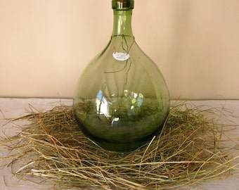 French Antique Demijohn, French Green Glass - Rum Dame-Jeanne -  french wine green bottle  - Pirate Bottle