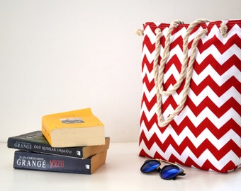 Red  Chevron / Zigzag   shoulder bag  ,Beach bag  ,Summer bag  Student Backpack,travel  Backpack/Travel,School,Daily bag /
