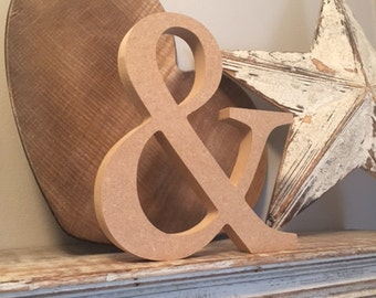 wooden letters, free-standing, unpainted, georgia font, Ampersand, &, 20cm - READY TO SHIP