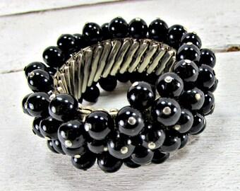 Vintage JAPAN Beaded Bracelet, Expansion Bracelet, Black Glass Beaded Bracelet, Cha Cha Bracelet, 1950s Rockabilly Vintage Costume Jewelry