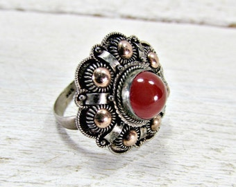 Vintage Carnelian Glass Ring, Ornate Sterling Silver Ring, Byzantine Etruscan Ring, Orange Red Glass Ring, 1960s Fine Estate Jewelry