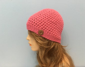 SALE Crochet Beanie Hat - PRETTY PINK