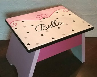 Polka Dot Foot Stool - Scrolly Design Stool - Bathroom Stool - Bedroom Stool - Pink and White Foot Stool - Girl Bathroom Stepstool-Kitchen