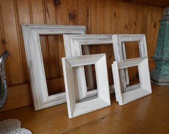 Set of  5 Chunky Vintage Frames - Beach Cottage Distressed Antique White - Farmhouse Rustic Hand Painted Wood Open Frame Gallery