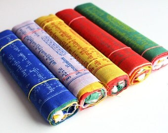 5 Rolls of 10 Flags Fine Cotton Tibetan Prayer Flags-Peace,Prosperity,Compassion,Purification,Knowledge PF23M