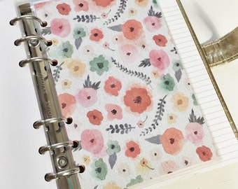 Personal Size Colorful Watercolor Floral Colorful Flowers Teal Pink Red Yellow Laminated Dashboard Filofax Kikki k Planner