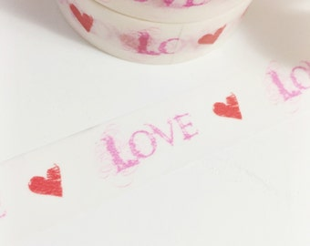 SALE Bright Red Love Hearts Sketches Hand Drawn Hearts Hot Pink Love Valentine Heart Washi Tape 11 yards 10 meters 15mm