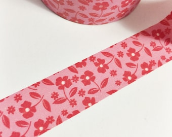 SALE Hot Pink and Red Tiny Flowers Washi Floral Washi Tape 11 yards 10 meters 15mm