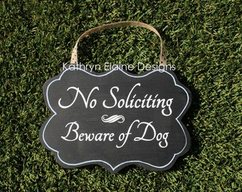 No Soliciting Beware of Dog Sign