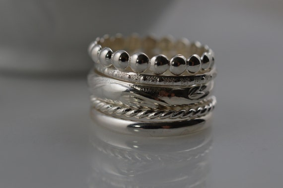 Sterling Silver Stacking Ring Set of 5 Pattern Rings / Custom Stack Rings / Floral / Vine / Twist / Simple