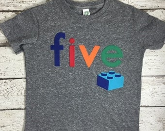 Blocks Shirt Organic Blend Birthday Tee Birthday Retro style building blocks boy's birthday shirt any age